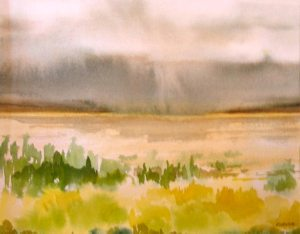 Evanne Jardine, Storm over the Whites, Watercolor, 11x15