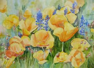 Carol Taylor, California Poppies and Bluebonnets, Watercolor, 14 x 21
