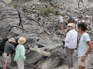 Tour participants get up close with the rock at the Panum Crater