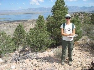 Serena assisting Aaron with easement monitoring on the Crowley Hilltop Preserve, with Crowley Lake in the background.