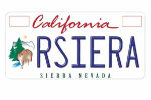 Sierra Nevada License Plate