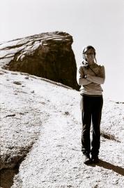 Elise hiking Half Dome in Yosemite.