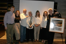 Also present at the event was the family of Andrea Lawrence. Her daughters, Quentin and Corty, also spoke at the dinner, sharing moving stories about their mother and the process of naming Mt. Andrea Lawrence in her honor. Photo courtesy of the Mono Lake Committee.