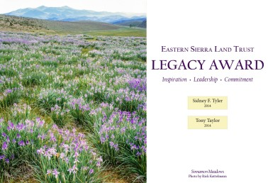 Our new Legacy Award recognizes our first-ever recipients, Tony Taylor and Sid Tyler, for their inspiration, leadership, and commitment to the future of the Eastern Sierra. This photo doesn't do it justice - stop in our office to see it in person! Our thanks go to Rick Kattelmann for donating the photograph and helping us print this beautiful award.