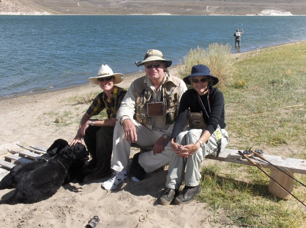 Shown here at Crowley Lake with her mother and father, Sus is proud
