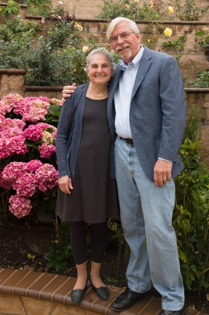 Elaine and Doug Muchmore pose in their garden