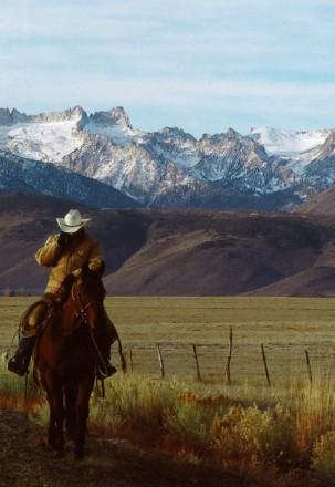 Mr. Lacey on Horseback in Bridgeport Valley