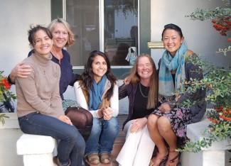 ESLT's staff, from left: Sara Kokkelenberg, Kay Ogden, Mini Mantzouranis, Sus Danner, Catherine Tao (not pictured: Marguerite Merritt)