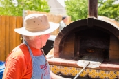 Mark Wagner of Owens Valley Growers Co-Op kept hungry GardenFest attendees happy with his wood-fired pizzas.