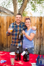 With Melanie Otto's help, Mountain Rambler Brewery co-owner Joe Lane shared samples of his latest brews with GardenFest guests.