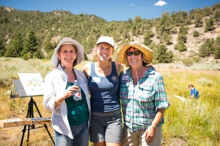 Lynn Peterson, Indigo, and Kay Ogden (ESLT Executive Director) soaking up the sun – what a beautiful day to be out in nature. Photo © Amy Leist.